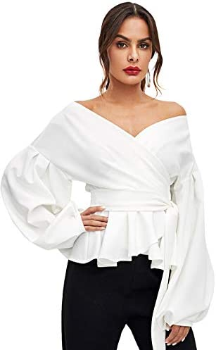 SheIn Women's Long Sleeve V Neck Ruffle Blouse Off Shoulder Tie Waist Wrap Tops