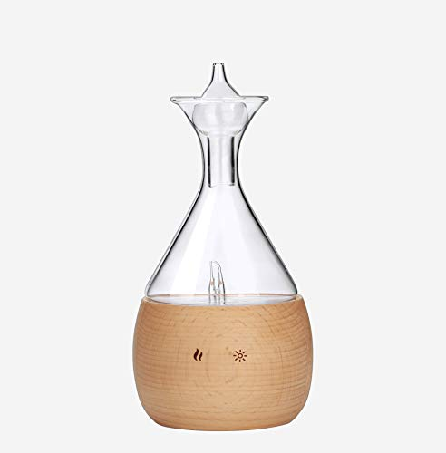 Aromatherapy Diffuser Nebulizer Made of Beech Wood and Glass. Waterless Pure Essential Oil Mist for up to 4 Hours, no Added Water or Heat; Professional, Pure Scent Vaporizer