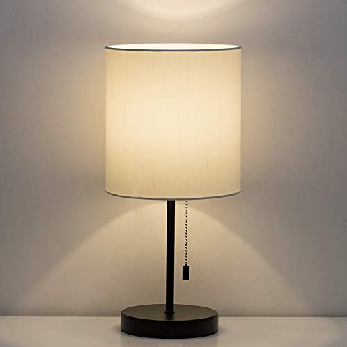 HAITRAL Table Lamp - Modern Bedside Desk Lamp with Pull Chain Fabric Lamp Shade Nightstand Lamp for Bedroom, Office, College Dorm