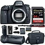 Canon EOS 6D Mark II Professional Digital Camera: 26 Megapixel Touchscreen Full Frame DSLR Bundle with Canon BG-E21 Battery Grip 64GB SD Card SLR Bag Photographer's Kit