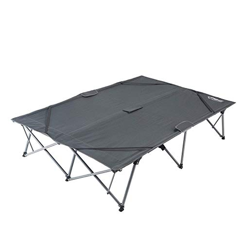 KingCamp Camping Cot Double 2 Person Oversized Anodized Steel Frame Portable Folding Bed Portable with Wheeled Carry Bag