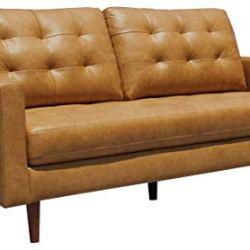 Amazon Brand – Rivet Cove Mid-Century Modern Tufted Leather Apartment Sofa, 72″W, Caramel