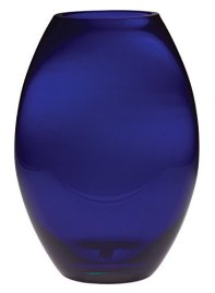 "Barski Glass - Handmade - 8"" H - (8 inches High) - Barrel Vase - Cobalt Blue - Made in europe"