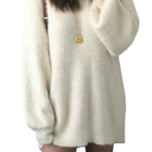 ouxiuli Women's Long Sleeves Pure Color Oversized Baggy Pullover Knitted Sweater