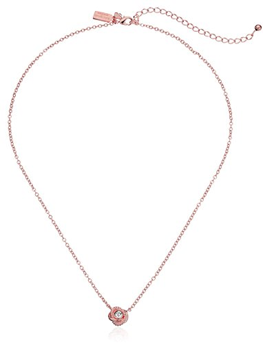 31QiRShj%2BGL Plated metal chain necklace featuring twisted knot pendant with sparkling round at center Lobster-claw clasp Imported