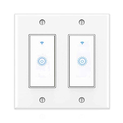 Smart wall light switch&Smart switch&WIFI Light Switch With Timer and Remote Control,Works with Alexa, Google home and IFTTT, No Hub required, Easy and Safe installation, ETL and FCC listed. (2gang)