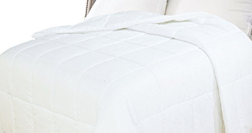 Natural Comfort White Down Alternative Comforter with Embossed Microfiber Shell, Light Weight Filled, Queen