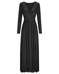 Womens Long Sleeve V-Neck Wrap Waist Maxi Dress