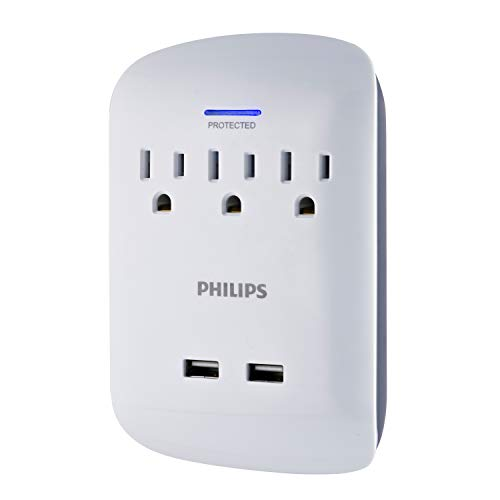 Philips 3-Outlet Surge Protector Wall Tap with 2 USB Ports, Compact Outlet Adapter, 900 Joules, 2.1A USB Charger Ports, 3 Grounded AC Outlets, UL Listed, ETL Certified, White, SPP6233WB/37