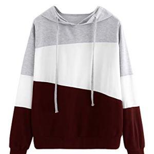SweatyRocks Women's Color Block Lightweight Long Sleeve Pullover Hoodie