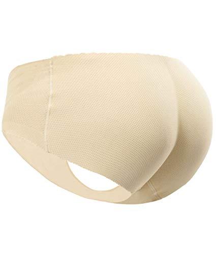 Everbellus Women's Padded Seamless Butt Hip Enhancer Panties Boy Shorts Beige XL