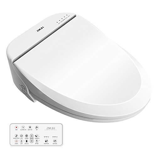 ZMJH Electronic Bidet Toilet Seat with Warm Water Air Drying Function, Power Saving Bidet(White Elongated Type)