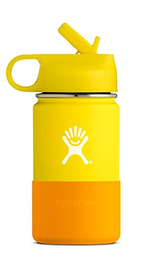 Hydro Flask 12 oz Kids Water Bottle | Stainless Steel & Vacuum Insulated | Wide Mouth with Straw Lid and Silicone Boot | Lemon