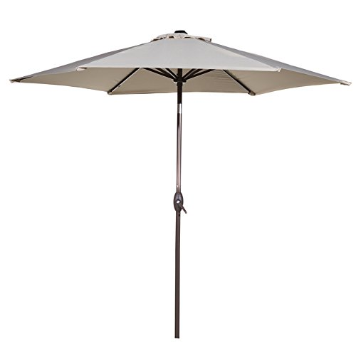 Abba Patio Outdoor Patio 9-Feet Aluminum Market Table Umbrella with Push Button Tilt and Crank, Beige