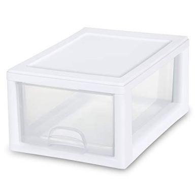 Sterilite-20518006-6-Quart57-Liter-Stacking-Drawer-White-Frame-with-Clear-Drawer-6-Pack