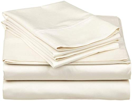 Queen Size 4 Pieces Sheet Set - Hotel Luxury Bed Sheets - Extra Soft - 10 Inches Deep Pocket - Easy Fit - Breathable & Cooling - Ivory Solid
