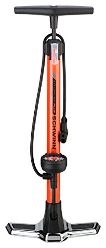 Schwinn Air Center Plus Floor Pump for Bicycles, Fits Schader and Presta Valve Types, Includes Needle to inflate Sports Balls for Volleyball, Football, Soccer, and Basketball, with Gauge Orange