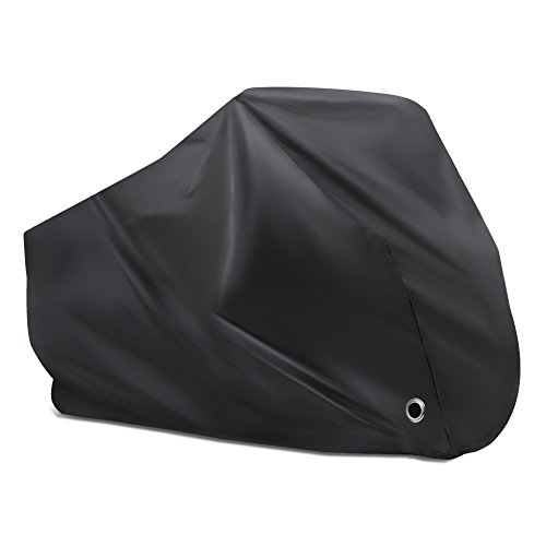Puroma Bike Cover Outdoor Waterproof Bicycle Covers Rain Sun UV Dust Wind Proof with Lock Hole for Mountain Road Electric Bike, XL, Black