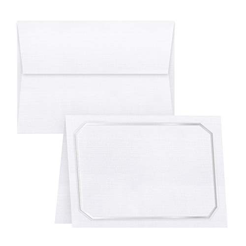 White Linen Blank Fold Over Greeting Cards with Silver Embossed Border and White Linen Envelopes | 5x7 Inches When Folded | 80lb, 216gsm | 20 Cards and 20 Envelopes per Pack