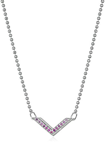 31SshhLtgdL Items containing natural stones may have slight variances in size, shape and color Sterling Silver chevron necklace featuring ombre set pink sapphires, precision cut by Swarovski Sterling Silver geometric shaped bar necklace set with  genuine Swarovski ombré colored pink sapphires