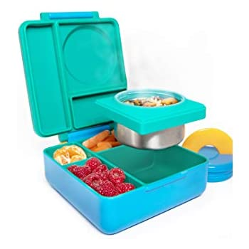 OmieBox Bento Lunch Box para Crianças | Recipiente Bento Box com Garrafa Térmica, Isolados e à Prova de Vazamento para Alimentos Quentes e Frios - 3 Compartimentos, Duas Zonas de Temperatura - (Prado) (Solteiro)