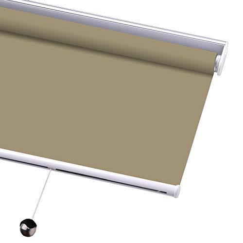 PASSENGER PIGEON Blackout Window Shades, Premium Free-Stop Cordless UV Protection Custom Roller Blinds, 29' W x 56' L,Stone
