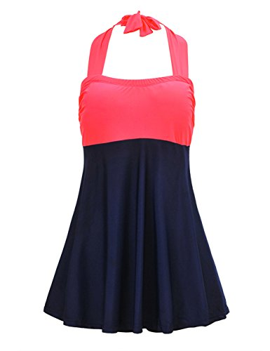 e5ab70c2751 JOYMODE Women s Plus Size Color Contrast Swimdress Skirtini One Piece  SwimSuit