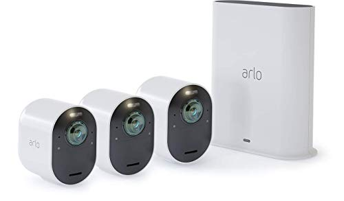 Arlo Ultra - 4K UHD Wire-Free Security 3 Camera System | Indoor/Outdoor Security Cameras with Color Night Vision, 180° View, 2-way Audio, Spotlight, Siren | Works with Alexa | (VMS5340)