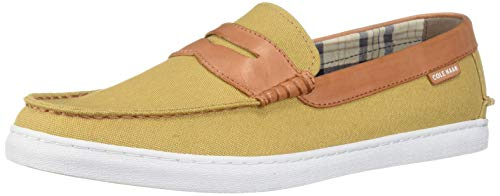 Cole Haan Mens Nantucket Loafer Iced Coffee Canvas/British Tan Leather 8.5 D (M)