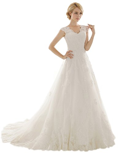 """31TayfFDOrL For Most Accurate Measurements, Please Use the Sizing Chart Image on the Left. Do Not Use """"Sizing Info"""" Link lace and beading decoration on bodice,a line floor length chapel train wedding gown V neck and corset back"""