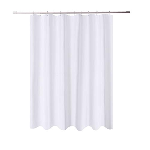 N&Y HOME Long Shower Curtain Liner Fabric - 72 x 78 inch Longer Length, Hotel Quality, Mildew Resistant, Washable, Water Repellent, White Spa Bathroom Curtains with Grommets