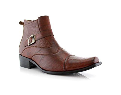 Delli Aldo Men's Ankle High Dress Boots | Buckle Strap | Shoes | Brown 11
