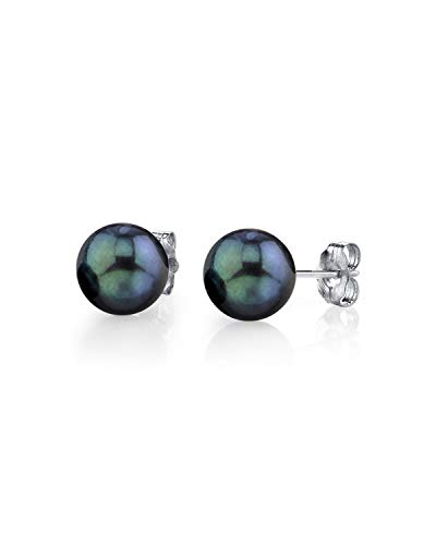 THE PEARL SOURCE 14K Gold 6-6.5mm Round Black Cultured Akoya Stud Pearl Earrings for Women