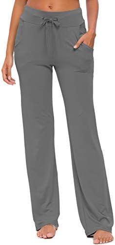 Womens Yoga Pants with Pockets Straight-Leg Loose Comfy Modal Drawstring Lounge Running Long Active Casual Sweatpants 2