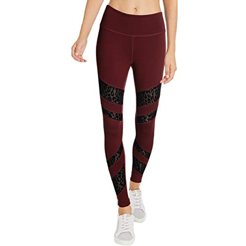 Jessica Simpson The Warm Up Womens Yoga Mesh Athletic Leggings Red M