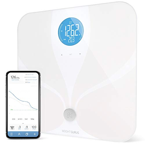 WiFi Smart Connected Body Fat Bathroom Scale by Weight Gurus, Backlit LCD, ITO Conductive Surface Technology, Accurate Precision Health Alerts, Measurements, and Monitoring (White 2019)