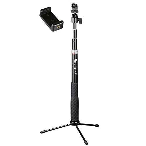 Smatree Q3 Telescoping Selfie Stick with Tripod Stand for GoPro Hero Fusion/7/6/5/4/3+/3/Session/GOPRO Hero (2018)/Action Cameras, Ricoh Theta S/V, M15 Cameras, Compact Cameras and Cell Phones
