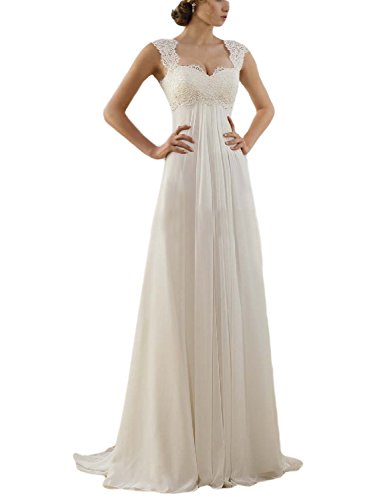 31Ue%2Bi%2B2hJL 2016 Simple Elegant A-line Summer Bohemian Wedding Dresses Sweetheart Beach Beaded Bridal Gowns for Bride with Straps Fabric: Lace & Chiffon.Open Back with Lace up closure Size: To make your dress fittest and perfect for you, we suggest you choose customize the dress and send your proper measurements (such as Bust, Waist, Hips, your Height, Shoes Height) via E-mail ASAP, then we can arrange manufacture and delivery earlier.