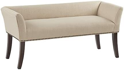 Madison Park Welburn Bedroom Solid Wood Polyester Fabric Seating Modern Style, Accent Bench Ottoman Cream