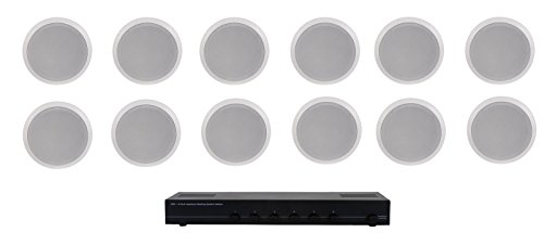 Home Audio Whole House Speaker System- 12 Ceiling Speakers 6PR- Flush 5.25' Round Speakers & Switcher
