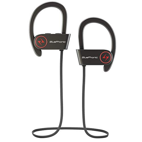 Bluephonic Wireless Sport Bluetooth Headphones - Hd Beats Sound Quality - Sweat Proof Stable Fit in Ear Workout Earbuds - Ergonomic Running Earphones - Noise Cancelling Microphone (Black)