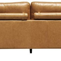 Amazon Brand – Rivet Cove Mid-Century Modern Tufted Sofa with Tapered Legs, 72″W, Caramel