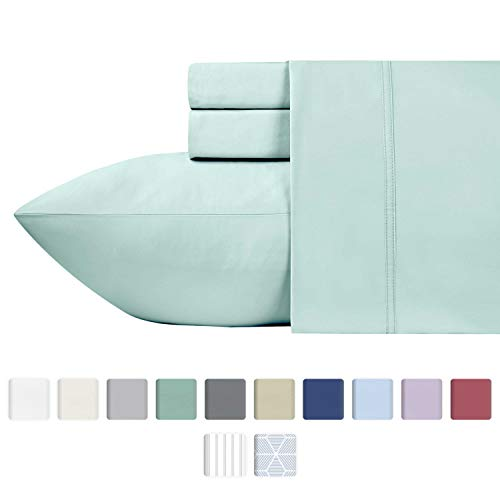 600 Thread Count Best Bed Sheets 100% Cotton Sheets Set - Spa Long-staple Cotton Queen Sheet For Bed, Fits Mattress Upto 18'' Deep Pocket, Soft & Silky Sateen Weave 4 Piece Sheets and Pillowcases