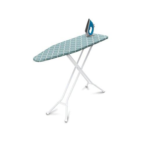 Homz 4-Leg Steel Top Ironing Board, Blue Lattice...