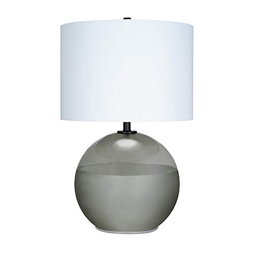 Catalina-Lighting-21391-003-Mid-Century-Modern-Round-2-Tone-Frosted-Glass-Table-Lamp-with-Antique-Brass-Accents-2725-Smoke-GreyBlack