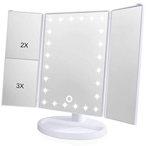 KOOLORBS Makeup 21 Led Vanity Mirror with Lights, 1x/2x/3x Magnification, Touch Screen Switch, 180 Degree Rotation, Dual Power Supply, White