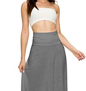 Lock and Love Women's Solid Ombre Lightweight Flare Midi Pull On Closure Skirt S-XXXL Plus Size 12 Fashion Online Shop Gifts for her Gifts for him womens full figure