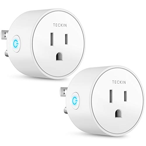 Smart Plug Works with Alexa Google Assistant IFTTT for Voice Control, Teckin Mini Smart Outlet Wifi Socket with Timer Function, No Hub Required, FCC ETL Certified