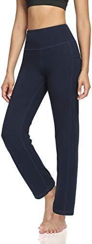 DIBAOLONG Womens Bootcut Yoga Pants Tummy Control with Pockets High Waist Long Workout Bootleg Leggings 2