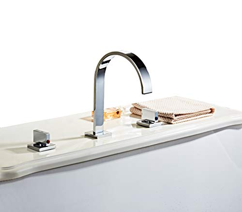 HHOOMMEE Two Handles Bath Mixer Taps Widespread Waterfall Bathroom Sink Faucet or Bath Tub Faucet, Chrome Finished, Unique Designer Vanity Cooper Plumbing Fixtures Roman Tub Faucets